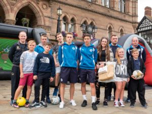 Chester FC stars tackle city centre football skills challenge