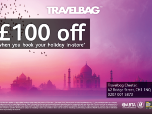 Get £100 off your holiday at Travel Bag Chester this weekend!
