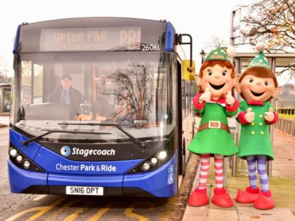 All aboard the Park and Ride bus with ChELFie and ELFie, Chester`s Christmas Elves